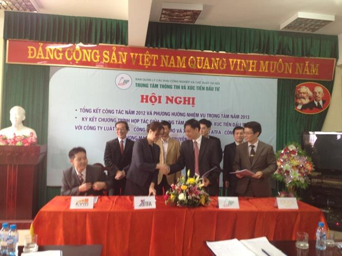 Lễ ký kết thỏa thuận hợp tác chiến lước giữa Ban quany lý các khu công nghiệp & chế xuất Hà Nội và Công ty ATFA